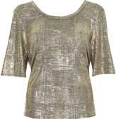 River Island Womens Gold metallic foil wrap back T-shirt