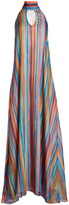 Judith March Yellow & Pink Watercolor Strip Halter Maxi Dress