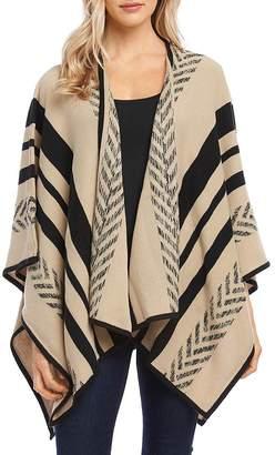 Karen Kane Striped Sweater-Knit Poncho