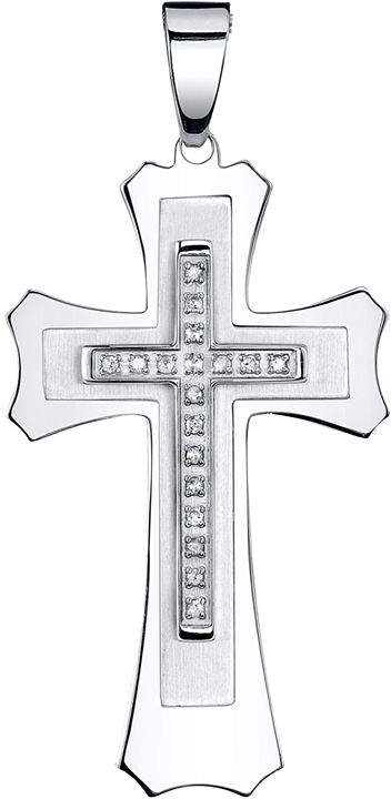 JCPenney FINE JEWELRY Mens 1/7 CT. T.W. Diamond Stainless Steel Cross Pendant Necklace