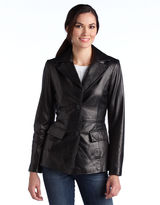 Jones New York Button-Front Leather Jacket