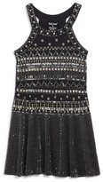 Flowers by Zoe Girl's Embellished Halter Skater Dress