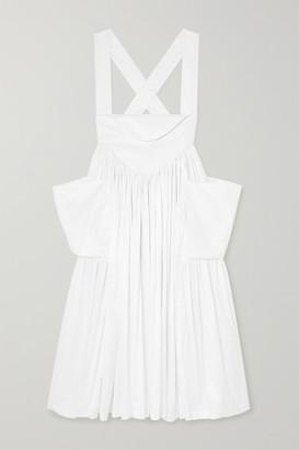 Norma Kamali Dirndl Pleated Habotai Midi Skirt - White