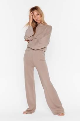 Nasty Gal Womens Knit's Going Down Wide-Leg Trousers Lounge Set - purple - L