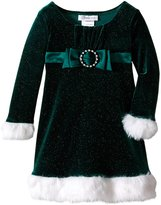 Bonnie Jean Little Girls' Bow Front Santa Dress