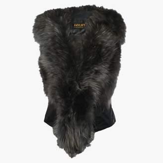 Jayley Black Leather Grey Fur Gilet
