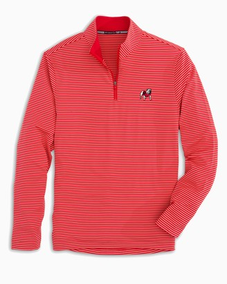 Southern Tide Georgia Bulldogs Striped Quarter Zip Pullover