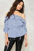 Nasty Gal Whip into Shape Cold Shoulder Gingham Shirt