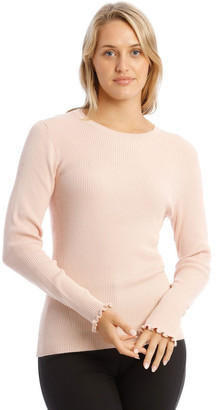 Basque Ribbed Lettuce Cuff Jumper Lt