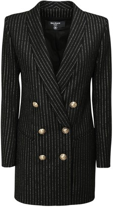 Balmain Striped Wool Blend Jacket Mini Dress