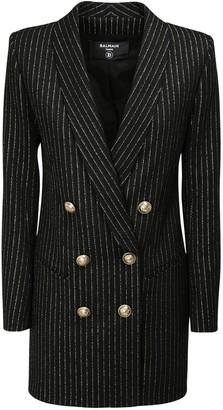 Balmain Striped Wool Blend Jacket Mini Dress