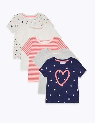 Marks and Spencer 5 Pack Cotton Rich Heart T-Shirts (2-7 Years)