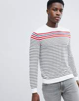 United Colors Of Benetton Striped Crew Neck Knit Jumper 100% Cotton