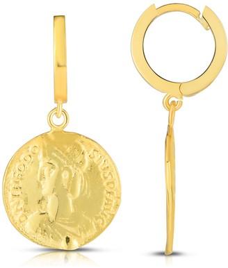 Sphera Milano 14K Gold Vermeil Huggie Coin Drop Earrings