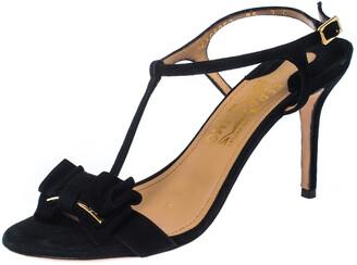 Salvatore Ferragamo Black Suede Pavi T Strap Bow Slingback Sandals Size 37.5