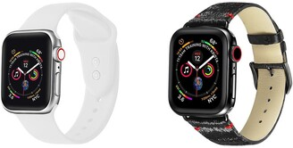 Posh Tech Black & White Silicone & Leather Band for 42mm/44mm Apple Watch Series 1, 2, 3, 4, 5 - Set of 2