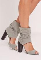Missguided Block Heel Ankle Cuff Sandals Grey