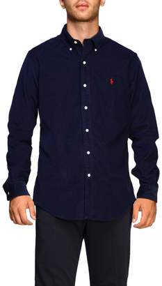 Polo Ralph Lauren Shirt Custom-fit Ribbed Shirt With Button-down Collar And Logo