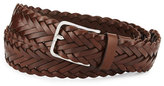 Brunello Cucinelli Men's Woven Calf Leather Belt, Brown