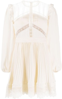 Self-Portrait Sheer Panel Pleated Detail Dress