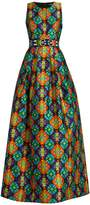 Andrew Gn Geometric-print sleeveless gown