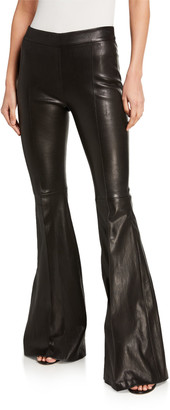 Rosetta Getty Pintucked Leather Pull-On Flare Pants