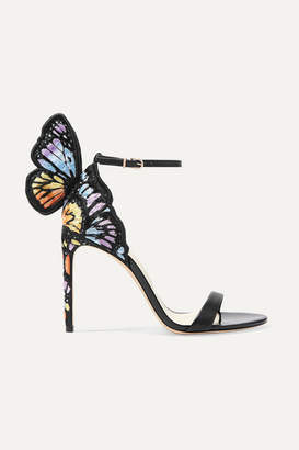 Sophia Webster Chiara Embroidered Satin And Leather Sandals - Black