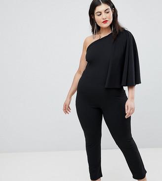 Club L London Plus Plus One Shoulder Cape Sleeve Detailed Jumpsuit-Black