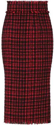 Dolce & Gabbana Tartan Tweed Calf-Length Pencil Skirt