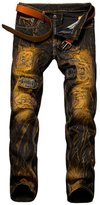 Yollmart Men's Ripped Slim Fit Jeans Pants with Patches-US 34/tag 36