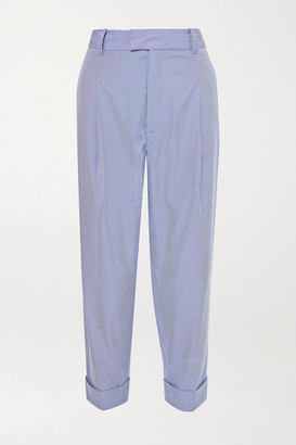 Vivienne Westwood Dave Pinstriped Cotton-blend Straight-leg Pants - Light blue