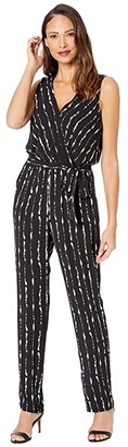Vince Camuto Sleeveless Stripe Impressions Belted Jumpsuit (Rich Black) Women's Jumpsuit & Rompers One Piece