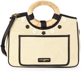 Karl Lagerfeld Paris Tess Straw Satchel