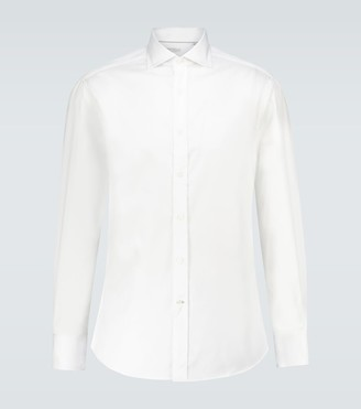 Brunello Cucinelli Long-sleeved cotton twill shirt