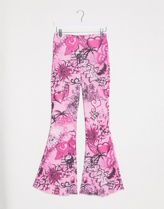 Jaded London fitted flares in 90s print co-ord