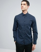 Celio Long Sleeve Slim Fit Cotton Shirt with All Over Ditsy Print