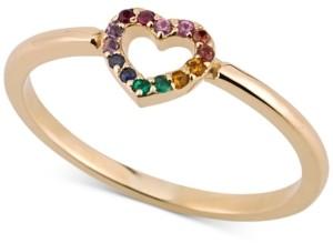 Sarah Chloe Multi-Gemstone Heart Ring in 14k Gold-Plated Sterling Silver