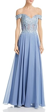 Avery G Embellished Off-the-Shoulder Gown