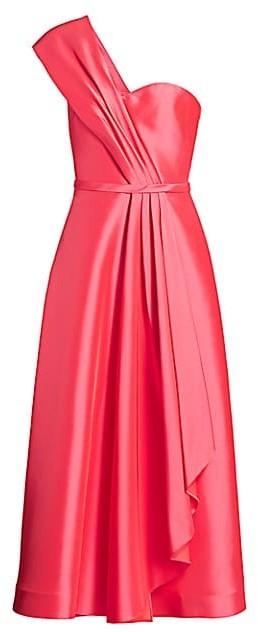 Theia Zibeline Tea-Length Cocktail Dress
