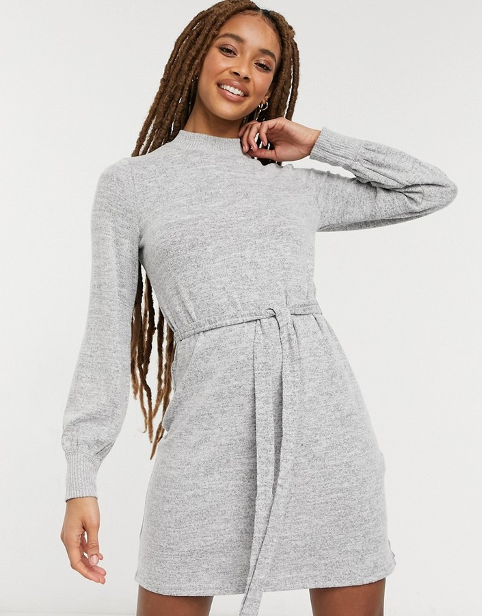 Thumbnail for your product : Abercrombie & Fitch puff sleeve slim dress in grey
