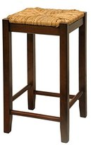 Winsome Wood 24-Inch Antique Walnut Square Rush Seat Bar Stools, Set of 2