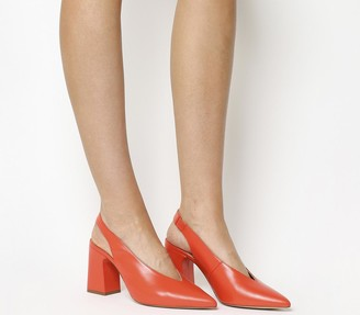 Office Mimi Chunky Slingback Heels Red Leather