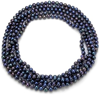 DaVonna Semi-round 5-6mm Black Freshwater Pearl Endless Necklace