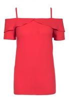Quiz Red Crepe Strappy Cold Shoulder Top