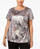 MSK Plus Size Printed Metallic Side-Tie Top