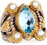 Konstantino Amphitrite Marquise Topaz & Pearl Statement Ring, Size 7
