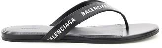 Balenciaga round leather thong mules logo