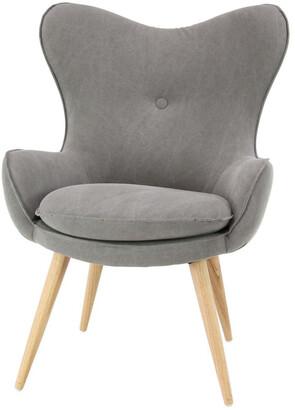 Uma Enterprises Wood Fabric Armchair