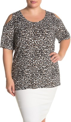 Leota Suzie Cold Shoulder Leopard Print Tunic (Plus Size)