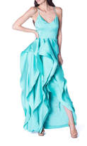 Badgley Mischka Mint Ruffle Gown